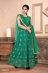 Multicolor Women Readymade Embroidery Suit With Net Dupatta By Parvati Fabrics Ltd