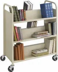 6Shelf Steel Slant Shelf Double Sided Book Cart