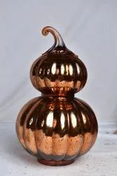 Brown Decorative Double Glass Pumpkin, For Home Decoration, Size/Dimension: 10 Inch