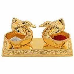 Gold Plated Duck Shape Roli Chawal Box,Roli kumkum Box For Pooja Purpose & Corporate Gift