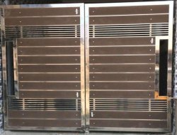 Swing Silver and Brown Wood Finish Stainless Steel Gate, For Residential