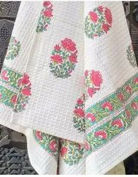 Cotton Block Print Handblock Towels, For Home, Size: Large