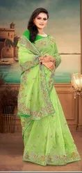 Balarka Ethnics Embroidery Party Wear Organza Saree, With Blouse Piece, 5.5 M (Separate Blouse Piece)