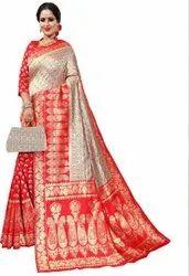 Areca Designer Party Wear Latest Trendy Cotton Silk Jacquard Banarasi Saree, With Blouse, 6.3 m