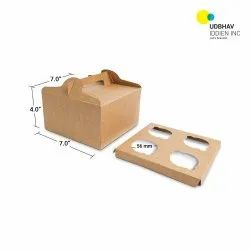 4 Cup Cake Box (With Handle) 7 x 7 x 4 Inch
