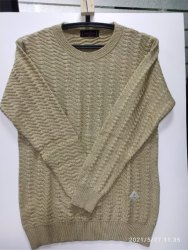 Full Sleeves INDLON Women Self-Design Beige Round Neck Sweater
