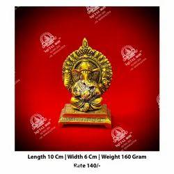 Golden Metal Ganesha Statue