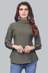 Twiffy Stylish Turtle Neck Long Sleeve Polyester Slim Fit T Shirt For Women