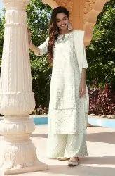 Janasya Women's Off- White Khadi Rayon Kurta With Palazzo & Dupatta(J0245)