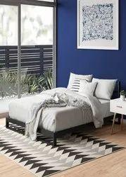Metallic Black Steel Litmus Low Profile Metal Bed Frame, Size: 75.5 X 53.5 X 27 Inches