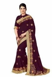 Border Nivah Fashion Women's Satin Silk Heavy Embroidery Work Saree, 6.3 M ( With Blouse Piece