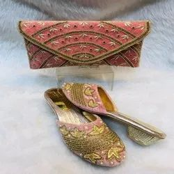 Pink And Gold Classic European Shoes And Bag For Women And Girl