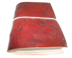 World Map Designer Genuine Leather Diary