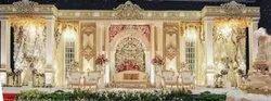 Roman White and Golden Fiberglass Wedding Stage