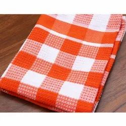 Check orange Plain Weave Cotton Dish Towels, For Cleaning, Wash Type: Machine Wash