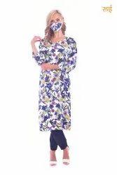 Rayon Casual Wear Printed Ladies Kurtis, Wash Care: Machine wash