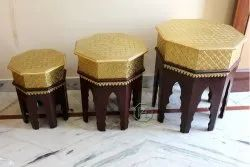 Dark Brown Wooden Brass Fitted Octagon Stool Set Of 3, For Seating, 20 Inch