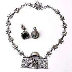 Antique Silver Look Oxidized Bird Necklace Earrings Set