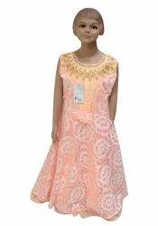 Net Peach Girls Wedding Wear Gown