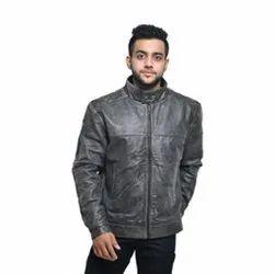 MBE/MJ/11 Goat Crackle Black Leather Jackets