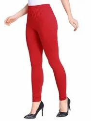 Straight Fit Red Ladies Plain Cotton Legging, Size: Free Size