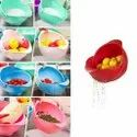 Plastic Revolving Multi Functional Rice, Vegetable Fruit Wash Basket Bowl (multi Colour)