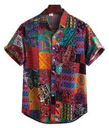 Maroon Ontarious Look Men's Cotton Digital Printed Half Sleeves Shirt, Size: Large