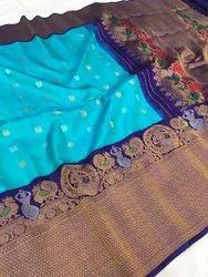 CSK Handlooms 6.3 m (with blouse piece) Gadwal kuttu turning handloom sarees