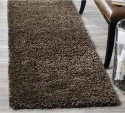 Brown Rectangular Room Shaggy Rug, For Floor