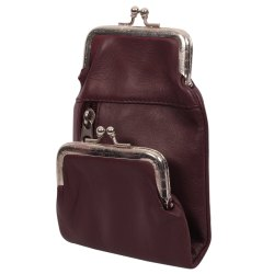 Jhanji Exports Dark Purple Leather Bag, Size: Standard