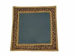 Gray Cotton Embroidered Table Mat, 6 Pcs, Size: 29x29cm