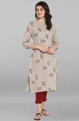 Janasya Women's Grey Cotton Kurta (JNE3530)