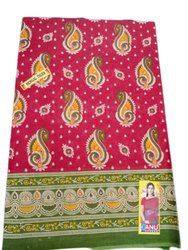Printed Red Pure Cotton Saree, 5.5 m