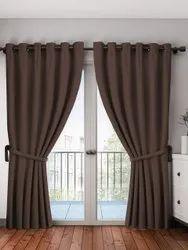 Silk Plain Dark Brown Blackout Curtains, For Door, Length: 6ft
