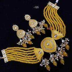 Yellow Traditional Kundan Set For Women And Girl Bijoux