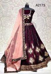 Embroidery Machine Ank Enterprise Purple Velvet Embroidered Designer Wedding Wear Choli