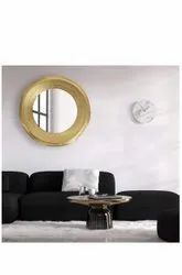 Wall Mount Hammered Round Glass Mirror, For Home