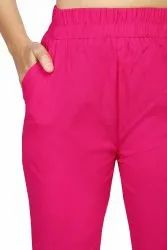Dark Pink Embroidered Women Stretchable Cotton Pant