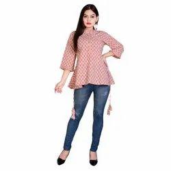 Ladies Printed Cotton Top, Size: S-XL