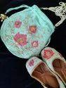 Ladies Punjabi Juttis And Handwork Potli Combo
