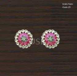 Fusion Arts Meenakari Kundan Stud Earrings
