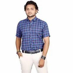 Collar Neck Fashion Aex Blue Pc Cotton Formal Wear Big Checks Shirt For Men