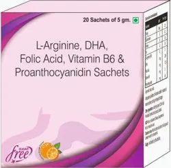 L-arginine, Dha, Folic Acid, Vitamin B6 & Proanthocyanidin Sachets