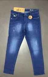 Blue Plain Mens Casual Wear Denim Jeans