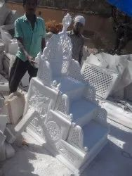 White Carved Marble Masjid Mehrab Marble Artifacts, For Decor