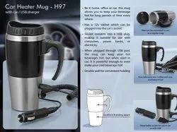H97 Car Heater Mug , With Car , USB Charger ( 500ml )
