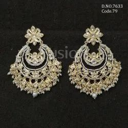 Fusion Arts Pearl Kundan Chandbali Earrings