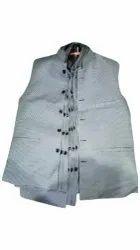 Light Grey Khadi Cotton Nehru Cut Jacket, Size: M