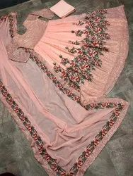 Peach Georgette Embroidery Sequence Work Gown