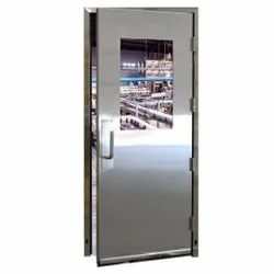 Silver Powder Coated Stainless Steel Door, Single, Thickness: 10 Mm